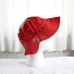 Vintage Accessories - 70s Vintage Rain Bucket Hat Red Vinyl Large